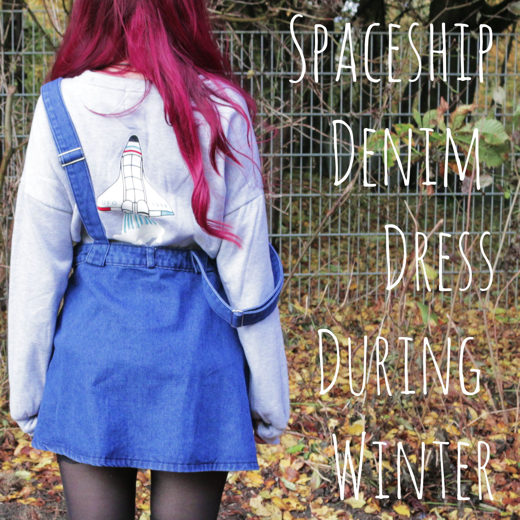Spaceship Denim Dress During Winter Time