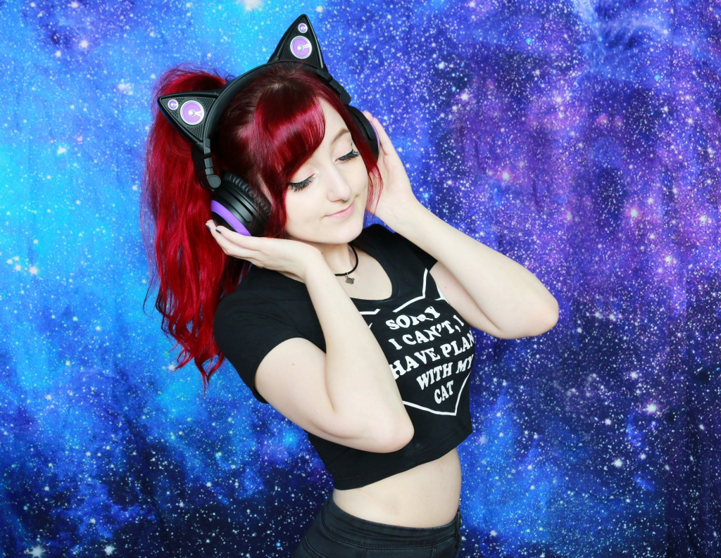 outerspacestyle cat ear headphones