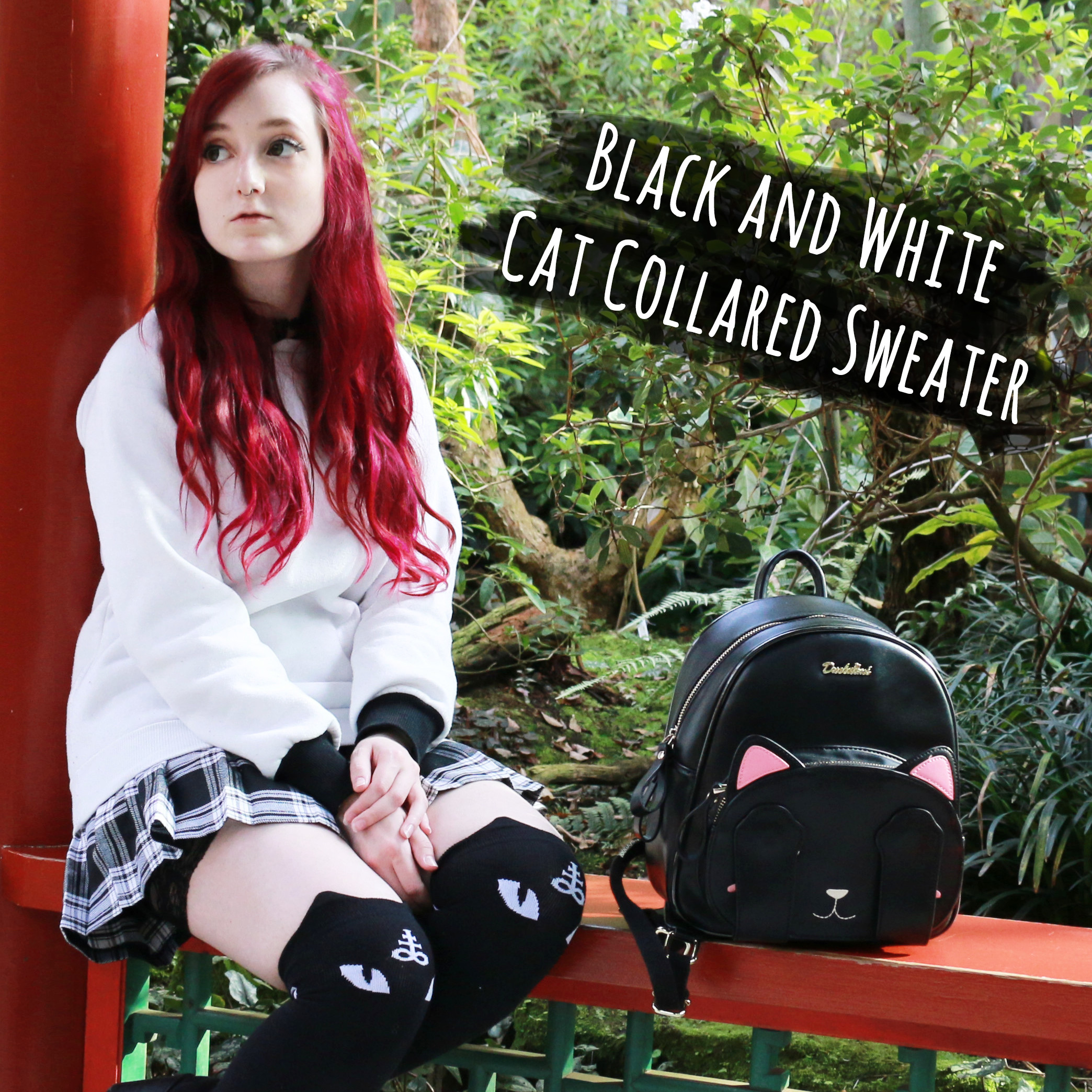 Outfit: Black and White Cat Collared Sweater